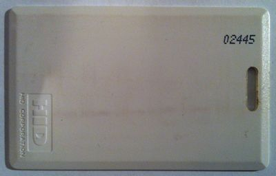 HID proximity card with user ID printed on it